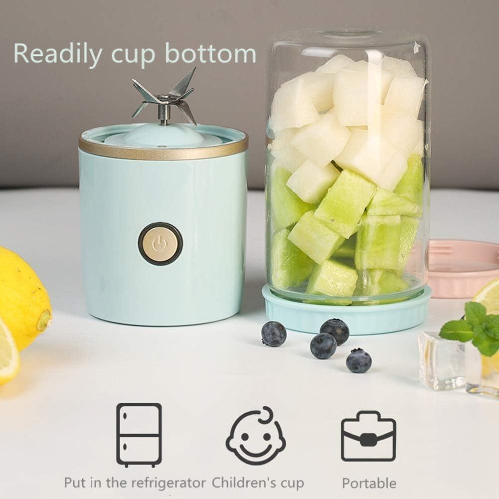 LMFLY Cup Taza de Jugo Portátil Casa Exprimidor Eléctrico Carga USB Hoja de Acero Inoxidable de 6 Hojas + Vidrio de Borosilicato Alto Desinfección UV Mini Mezclador de Frutas Blue
