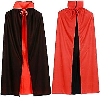 Vococal - 140cm Largo Vampiro Dracula Capa / Capa de Tippet con Estilo de Negro Rojo Reversible para los Hombres Halloween Fiesta Disfraces Cosplay Accesorios