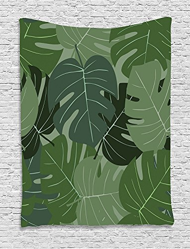 asddcdfdd Forest Green Tapestry, Camouflage Pattern of Palm Leaves Tropical Nature Themed Foliage, Wall Hanging for Bedroom Living Room Dorm, 60 W X 80 L Inches, Sage Green Pale Green