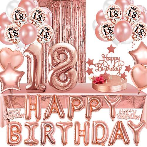 18 Geburtstag Mädchen Deko Rosegold,Aivatoba 18 Geburtstagsdeko Rosegold with Happy Birthday Girlande Balloon, Rosegold Konfetti Luftballons,Tortendeko,Fransenvorhang,Tischdeko