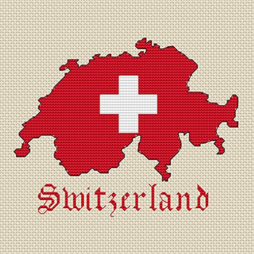 Zwitserland Kaart & Vlag Cross Stitch Kit door Elite Designs