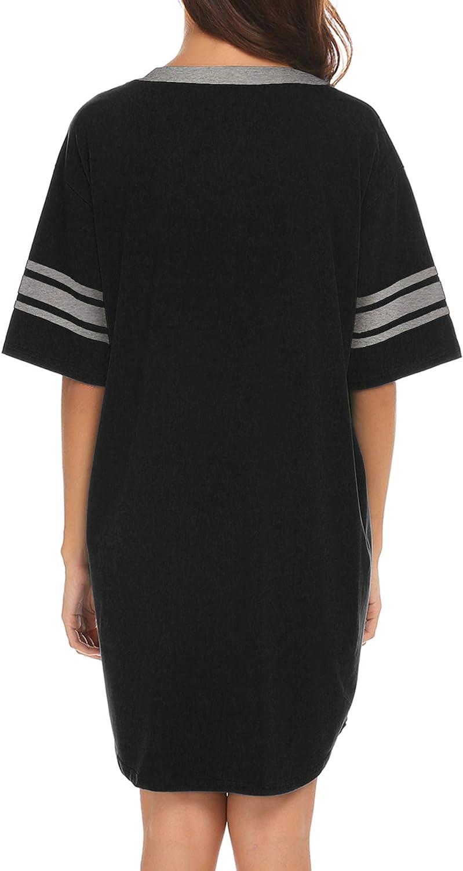 Ekouaer Women's Nightgown, Cotton Novelty Sleepshirts V Neck Short Sleeve Sleep Shirt Loose Comfy Pajama Sleepwear S-XXL