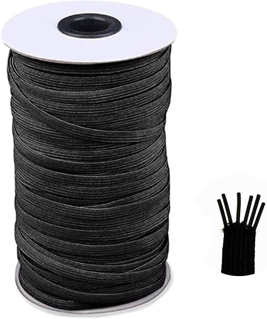 JIUXI Elastic Bands for Masks and Sewing High Elasticity Stretch Band for Face Masks 6mm Flat Braided Stretch Strap Cord Roll and More Waistband 100 Yards 1//4 Inch Black Clothes