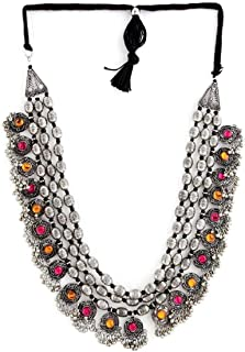 Total Fashion Afghani Oxidised German Silver Jewellery Antique 3 Layer Multi Necklace Set for Women & Girls