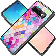 Colorful Fish Scales Samsung Galaxy S10 Plus Case JQLOVE Tire Pattern Black TPU Hard Back Cover PC Soft Edge Super Slip Resistant Durable Phone Case for Samsung Galaxy S10+ Colorful Fish Scales