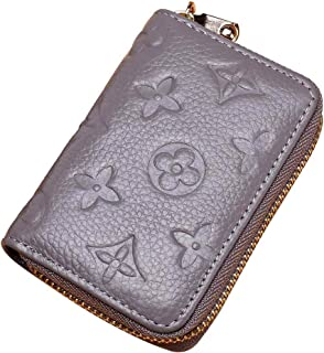 RFID Credit Card Holder Wallet, Leather Cute Small Zipper Card Case - Grey