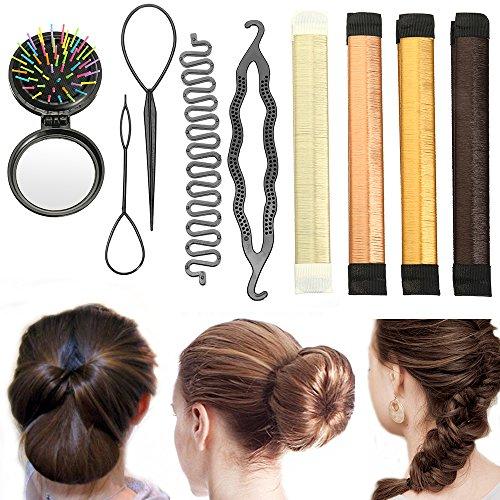Haar Styling Set, ieasky Haar Design Tools Zubehör Haarknoten DIY Magic Einfache Spirale Braid Donut Brötchen-Hersteller, Beauty Crown und Donut Haarknoten Maker für Pferdeschwanz