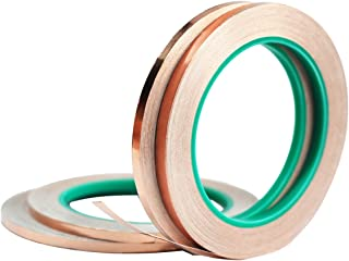 Copper Foil Tape,4Pcs DIKOO Double-Sided Conductive Adhesive (1/4inch X 21.8yards) for EMI Shielding,Slug Repellent,Electrical Repairs,Stained Glass,Art Work,Soldering,Grounding Paper Circuits,Crafts