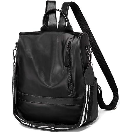 Rucksack Damen, VASCHY Nylon Diebstahlsicherer Rucksack Wasserabweisend Casual Daypack Elegant Handtasche Schulrucksäcke für Frauen Hochschule Teenager Mädchen Schwarz