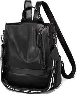 VASCHY Rucksack Damen, Nylon Diebstahlsicherer Rucksack Wasserabweisend Casual Daypack Elegant Handtasche Schulrucksäcke für Frauen Hochschule Teenager Mädchen Schwarz