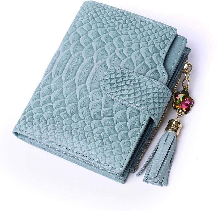 Girls Purse Ladies Wallet Head Layer Short BiWallet 20 PercentFringed Purse with SnakeTextured Wallet