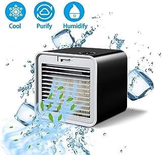 WANGT Aire Acondicionado Portátil, Enfriador De Aire Oscilante Ventilador De Escritorio Humidificador De Niebla De Aire Evaporativo con 3 Velocidades De Viento para La Oficina En El Hogar,Blue