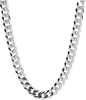 9MM Curb Link White Gold Cuban Miami Link Chain Necklace for Men Real 14K Karat Diamond Cut Heavy w Solid Thick Clasp US Made