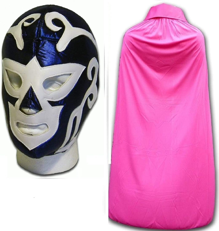 Huracan Ramirez bleu adulte Luchador lutte mexicaine masque W   rose cape