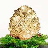 Pine Cone Glass Lights LED Flameless Candles, Battery Operated, Gold Warm White for Christmas Thanksgiving Home Party Decoration 1 Pack