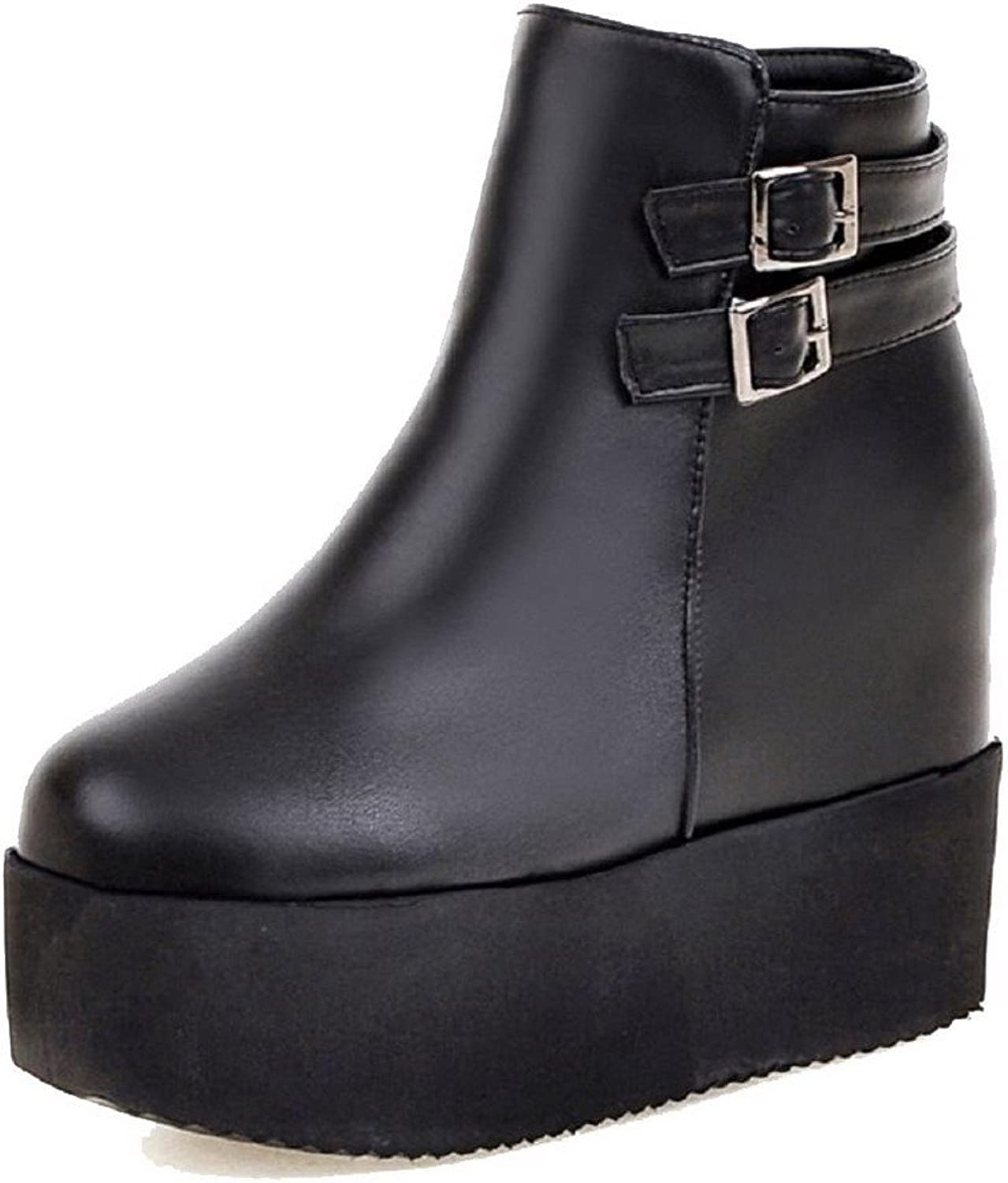 WeiPoot Women's Round Closed Toe High Heels Soft Material Low-Top Solid Boots