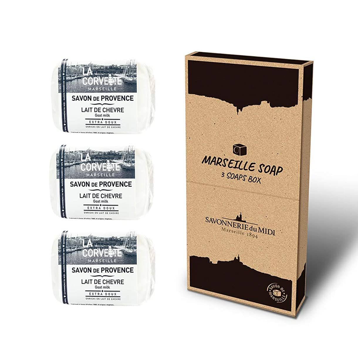泥適合する空いているマルセイユソープ 3Soaps BOX ゴートミルク