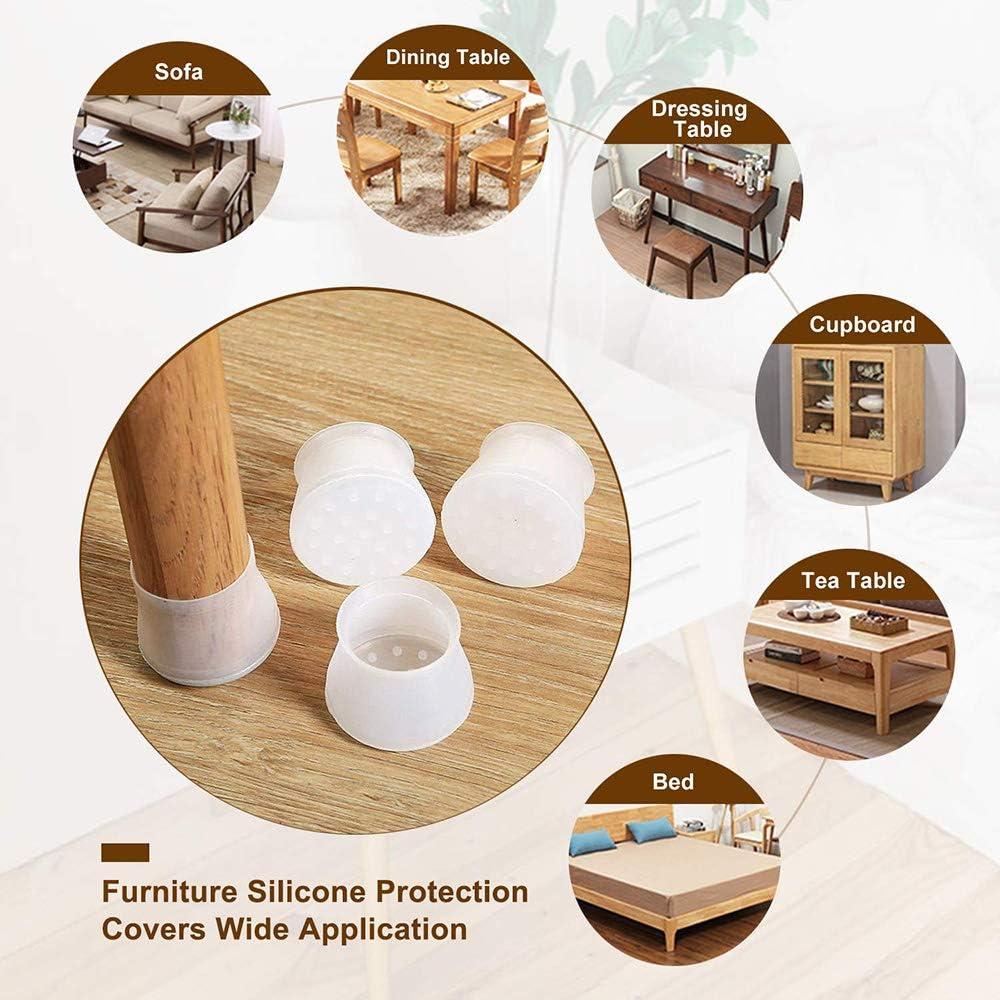 per proteggere il pavimento previene graffi e rumore 56 pezzi Lachi rotondi e quadrati antiscivolo Coprigambe in silicone per mobili