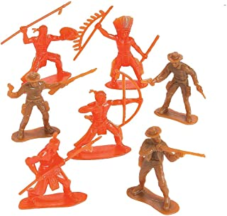 Kicko Plastic Cowboys and Native American Figures - Pack of 20-2.25 - 3.25 Inch Brown and Orange Colors - Western Action Figures - for Kids, Party Favors, Bag Stuffers, Fun, Toy, Prize