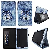 Snow Wolf AT&T Trek 2 HD Case Model 6461A 2016 Premium PU Leather Stand Cover w Auto Wake/Sleep for AT&T Trek 2 HD 8? Android Tablet Compatible w ZTE Trek 2 HD K88 Stylus Holder ID Slots