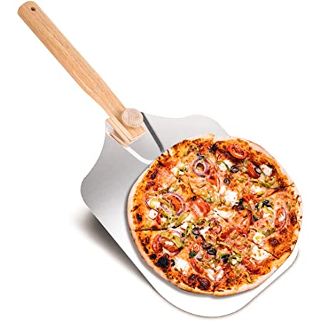 EKKONG Pelle à Pizza, Pelle à Pizza Planche à Pizza Aluminium, Pelle Pizza Long Manche en Bois, Pelle Grande Surface (60 * 30.5cm) pour Four à Pain, Convient pour Pizza Party