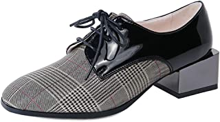 Judy Bacon Women's Square Toe Oxford Shoes Plaid Genuine Leather Lace Up Mid Heel Dress Oxfords Loafer Shoes