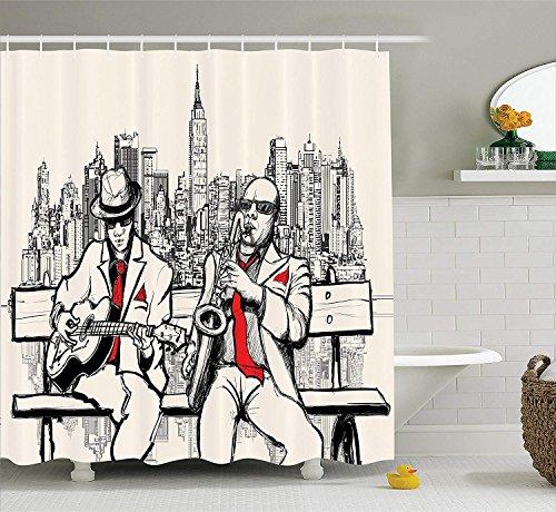 Nyngei Juegode SDE con de músicade Jazz Bandade hombresde Jazz Tocando en Nueva York en la Noche Estilo Retro Ilustración Imprimir SDE Rojo Negro