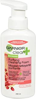 Garnier Clean+ Purifying Foam Cleanser For Combination Skin, 6.8 Fluid Ounces