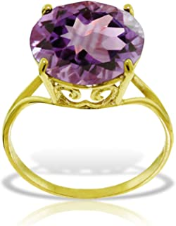 ALARRI 14K Solid Gold Ring with Natural 12.0 mm Round Amethyst
