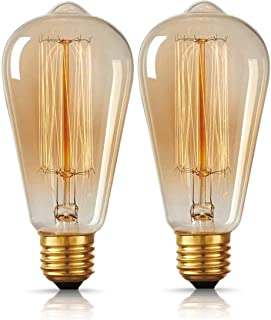 MR.3 Dimmable Edison Bulbs Antique&Vintage Style 40W Filament Lamp ST64 Halogen Bulbs for Restaurant Home Office Light Fix...