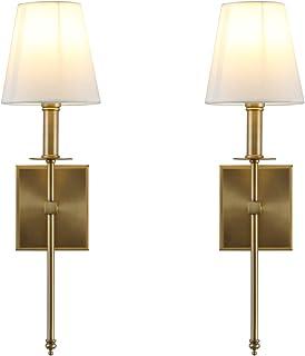 Yosoan Lighting 2 Sets of Vintage Loft Bar Modern Linen Lampshade Wall Light Fittings, Hotel Beside LED Bed Wall Lamp E27 ...