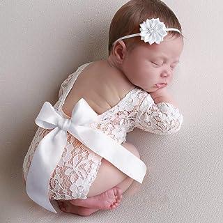 Baby fotoshooting kostuums, pasgeborenen fotografie rekwisieten, baby backless kant rompers kleding foto babykleding outfi...