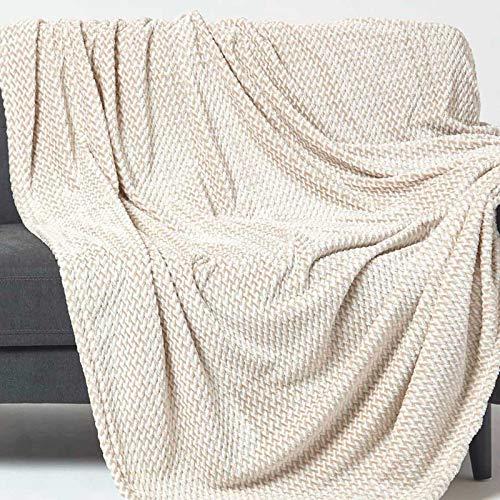 Homescapes weiche Samt-Tagesdecke Mora, beige, Plaid/Überwurf im Jacquard-Gewebe, perfekt als Sofaüberwurf, Wohndecke, Kuscheldecke, 160 x 200 cm
