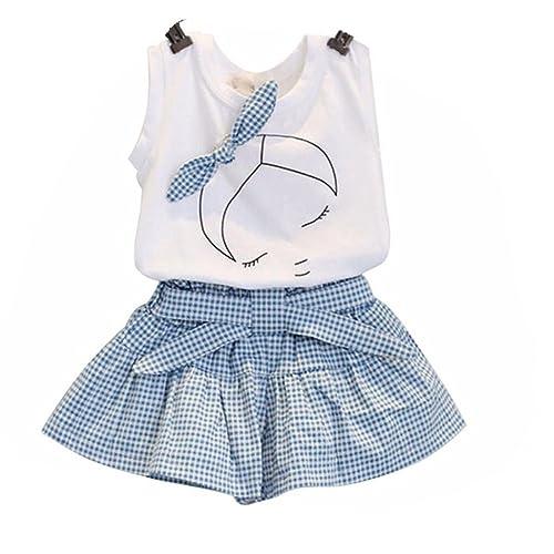 f86e314a0d0ef Amlaiworld ❤️Ensembles de Bébé Filles Filles Mignon T-Shirt Bow Chemise de  modèle de