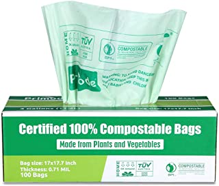 Primode 100% Compostable Trash Bags, 3 Gallon Food Scraps Yard Waste Bags, 100 Count, Extra Thick 0.71 Mil. ASTM D6400 Com...