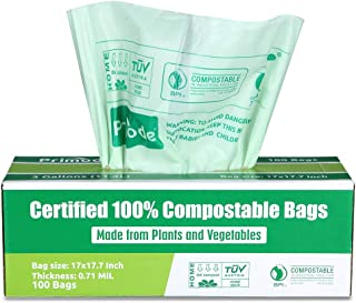 Primode 100% Compostable Bags, 3 Gallon Food Scraps Yard Waste Bags, 100 Count, Extra Thick 0.71 Mil. ASTMD6400 Biodegradable Compost Bags Small Kitchen Trash Bags, Certified by BPI and VINCETTE