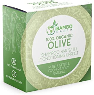 Solid Shampoo Bar And Conditioner Effect Hair Soap – 100% Organic Shampoo Bars For Hair With All Natural Plant Based Essential Oils And Zero Waste Biodegradable Packaging (Olive)