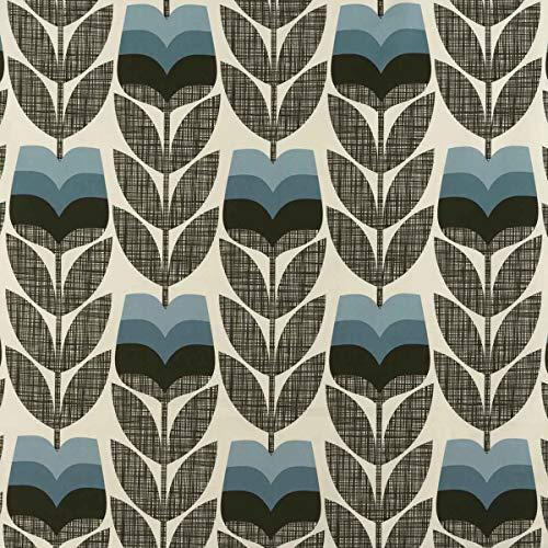 Loome Orla Kiely Rosebud Poeder Blauw Katoen Prints Gordijn, Gordijnen, Kussens of Bekleding Stof per metre, 140cm wide Poeder Blauw