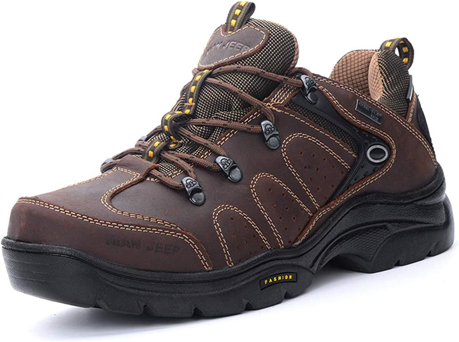 Men's Outdoor shoes Fall Winter Low-Top Hiking shoes Non Slip Wear-Resistant Camping shoes Dark Brown Black,A,39