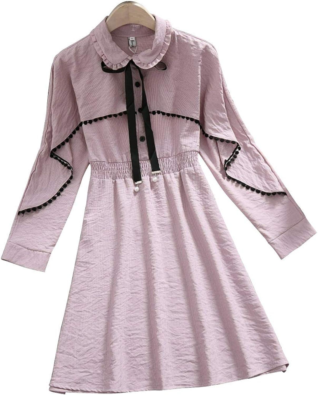 KERVINJESSIE Women's Relaxing Cotton Lapel Kneeskirt Arder Revers Long Sleeve Purity SXXL Size