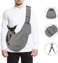 SlowTon Pet Carrier, Hand Free Sling Adjustable Padded Strap Tote Bag Breathable Cotton Shoulder Bag Front Pocket Safety B...