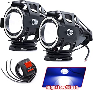 U7 LED Motorcycle Headlight Fog Light Spotlight with Halo Angel Eyes Dirt Bike Truck ATV Driving Lights Offroad Auxiliary ...