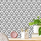"""Black Contact Paper Geometric Peel and Stick Wallpaper 17.7""""X236"""" Removable Self Adhesive Wallpaper Modern Pattern Contact Paper for Furniture Cabinets Decorative Paper for Shelf Drawer Liner Vinyl"""