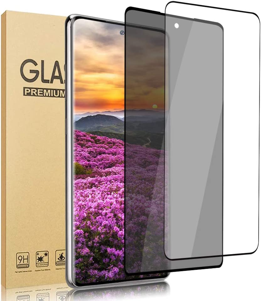 [2 Pack] Galaxy S21 Screen Protector [HD + Privacy Tempered Glass Film][ UltraSonic Fingerprint] [9H Hardness] [No-Bubble][Full Coverage] for Samsung Galaxy S21 (6.2