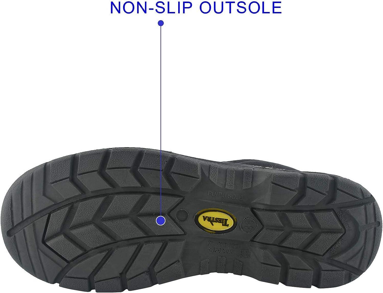 TIESTRA Chaussures De S/écurit/é Hommes Bottes De S/écurit/é en Cuir Travail R/ésistantes et Imperm/éables Antid/érapante Embout Acier Semelle Anti-Perforation Antistatique