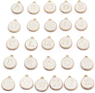 Linsoir Beads Cute Mixed Bracelet Charms 26 Metal Letter Charms Enamel Initial Charms Wholesale Double Sided Alphabet Charms for Necklace and Bracelet Making Craft Supplier 26pcs/lot