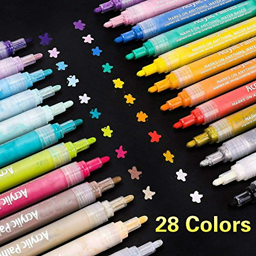 SUPERSUN 28 Farben Acrylstifte für Steine Bemalen, Acrylfarben Wasserfest Marker Holz Stift Farbe für Holz, Leinwand, Fotoalbum, Glas, Metall (mit 10 DIY-Karten)