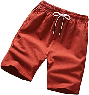 Yisism Men Plain Casual Drawstring Cotton Beach Classic-Fit Shorts
