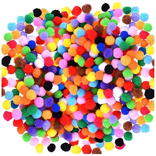 Acerich 2000 Pcs 1cm Assorted Pompoms Multicolor Valentine Day Arts and Crafts Fuzzy Pom Poms Balls for DIY Creative Crafts Decorations