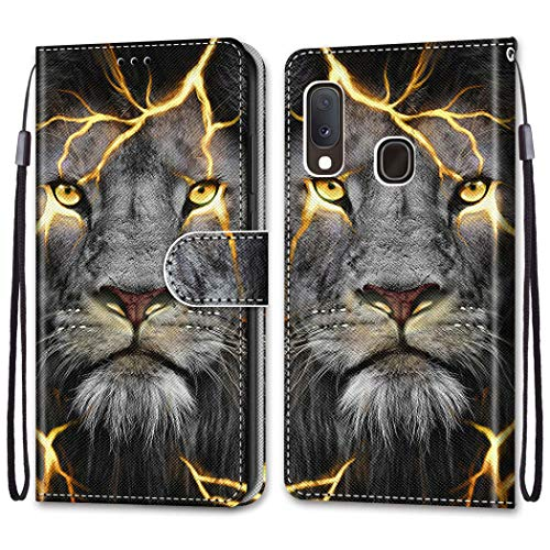 Nadoli Bunt Leder Hülle für Samsung Galaxy M20,Cool Lustig Tier Blumen Schmetterling Entwurf Magnetverschluss Lanyard Flip Cover Brieftasche Schutzhülle mit Kartenfächern